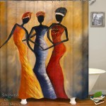 Shower Curtains African Ladies Art Painting Shower Of Curtains