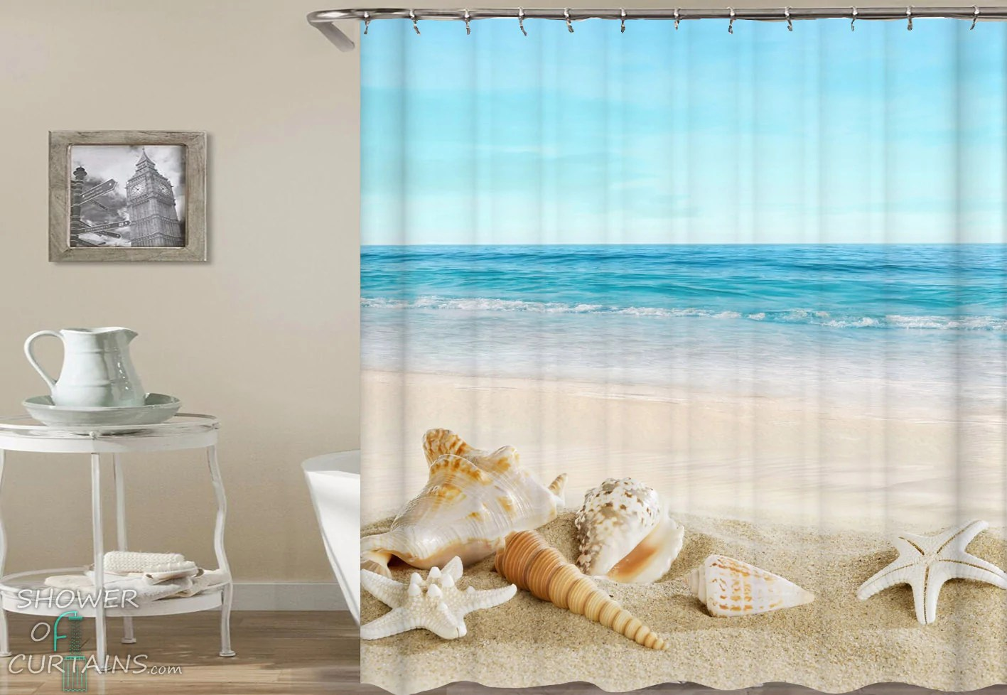 peacefully seashells shower curtains