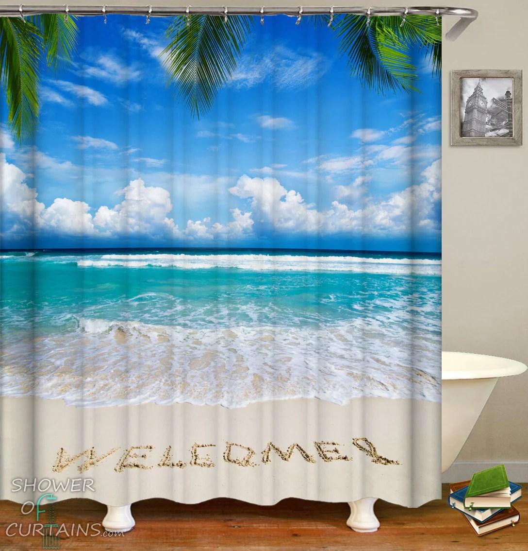 welcome beach shower curtain