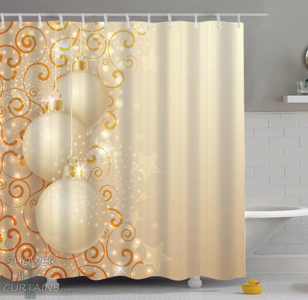 cream color christmas balls ornaments shower of curtains