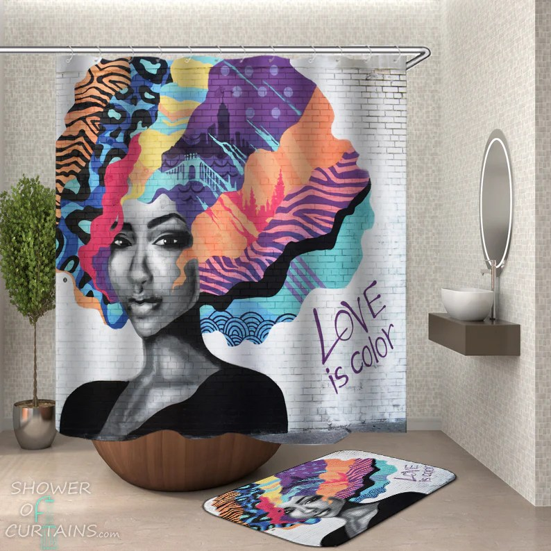 shower curtains love is color wall art shower of curtains