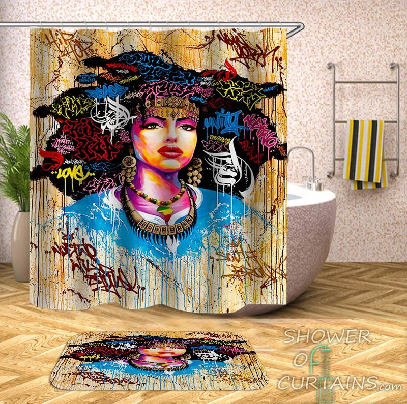 colorful graffiti african girl shower curtain
