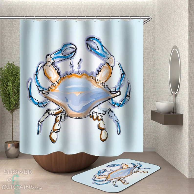 shower curtains crab painting shower of curtains
