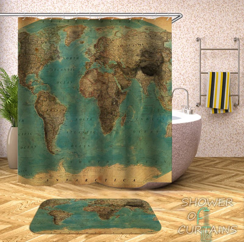 world map shower curtain collection