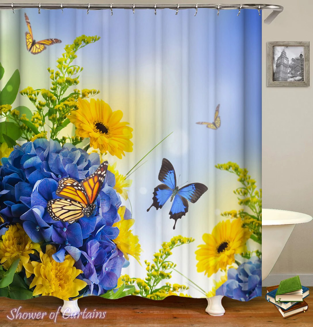 blue and yellow flowers ft butterflies