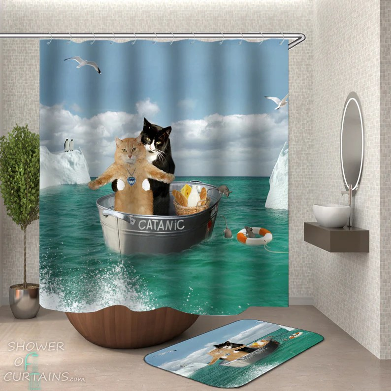 shower curtains catanic funny cats shower of curtains