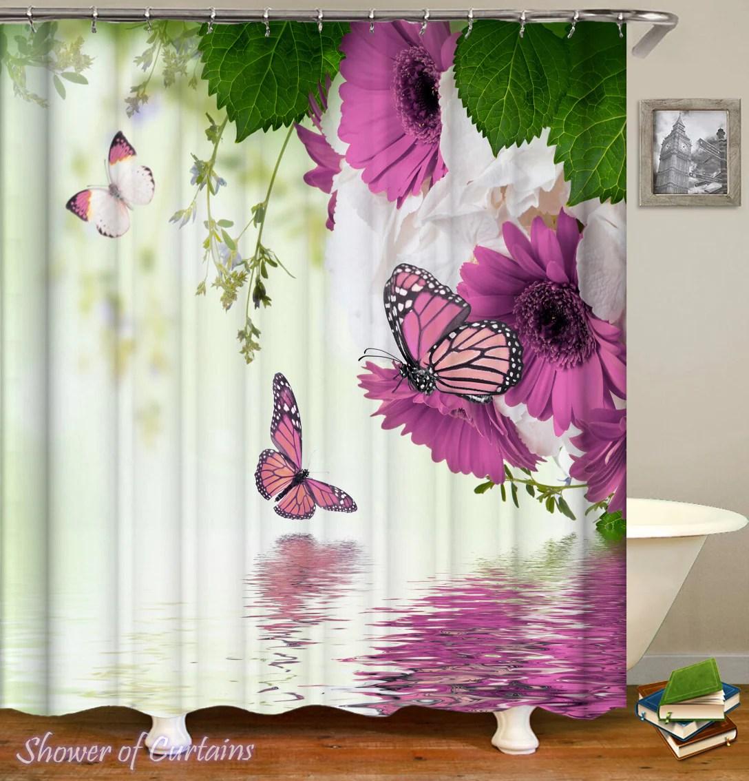 Purplish Flowers And Butterflies