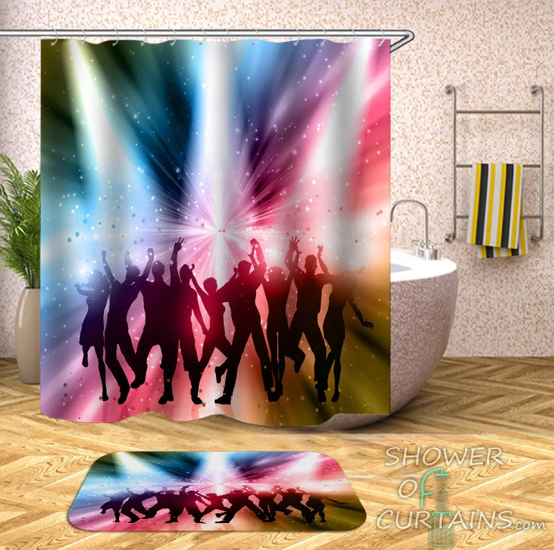 the 80 90 disco shower curtain