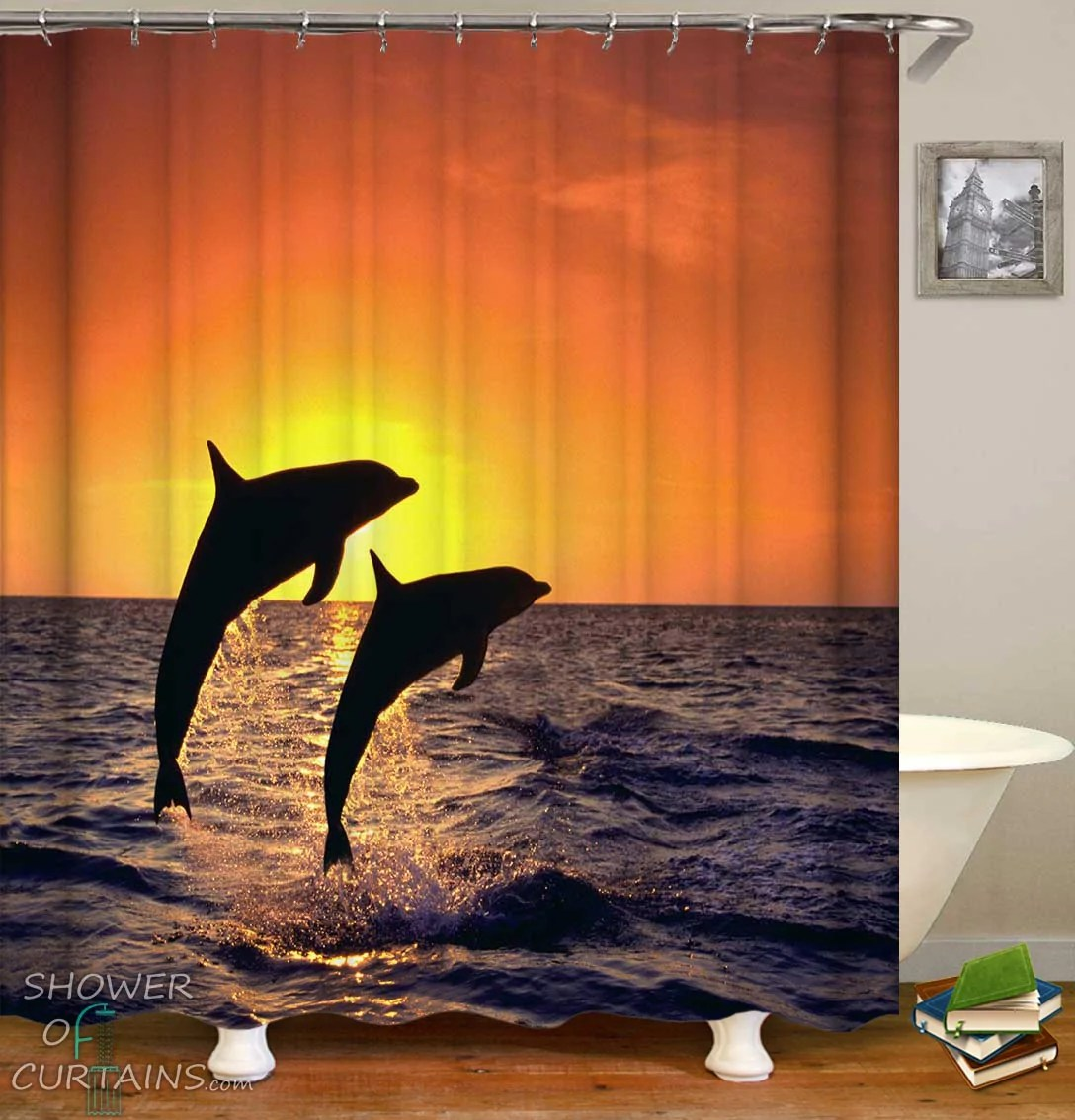 sunset dolphins shower curtain