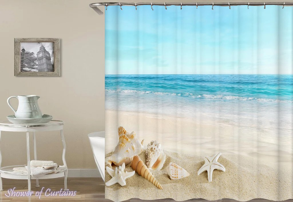 seashells with a beach view shower of curtains