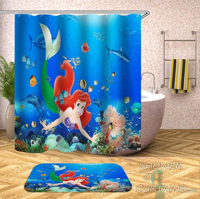 little mermaid ariel shower