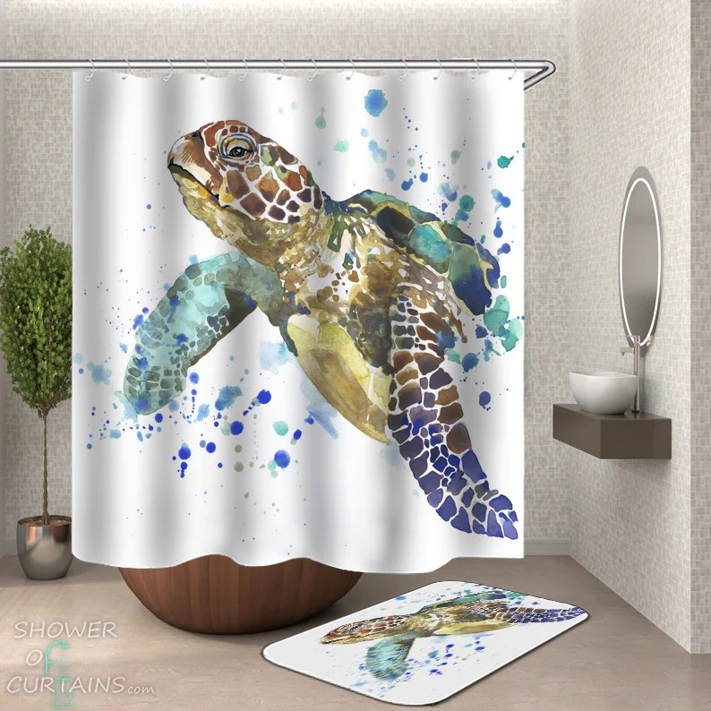 shower curtains art painting turtle shower of curtains