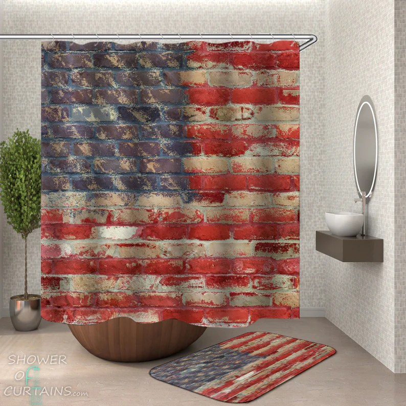 shower curtains brick wall american flag shower of curtains