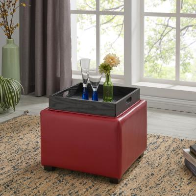 cameron square leather ottoman storage w tray red