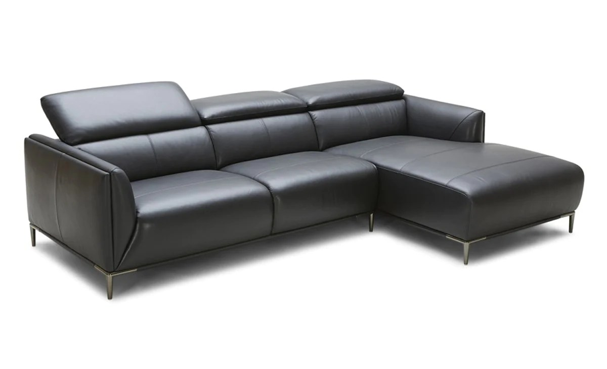 Divani Casa Belfast Modern Black Leather Sectional Sofa