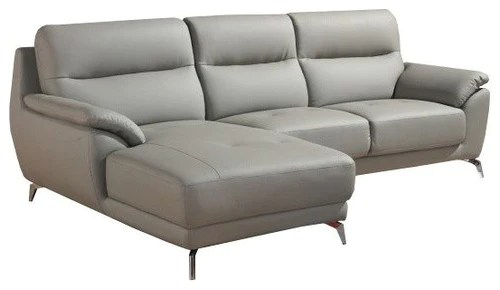 left facing chaise sectional sofa in gray leather