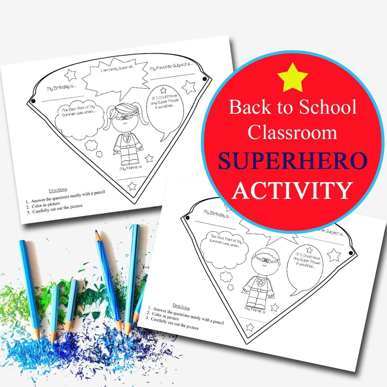 Superhero Classroom Activity   TidyLady Printables [ 1300 x 1300 Pixel ]