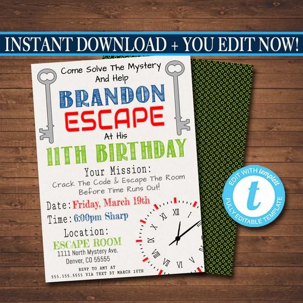 escape room birthday invitation boy