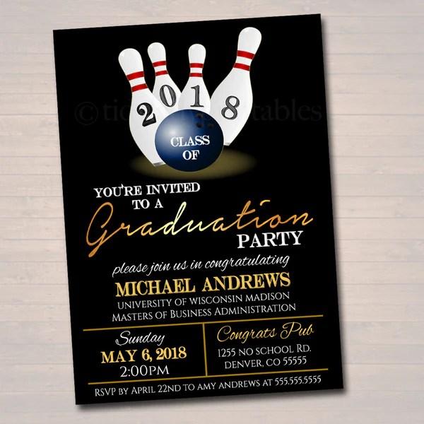 editable bowling graduation invitation