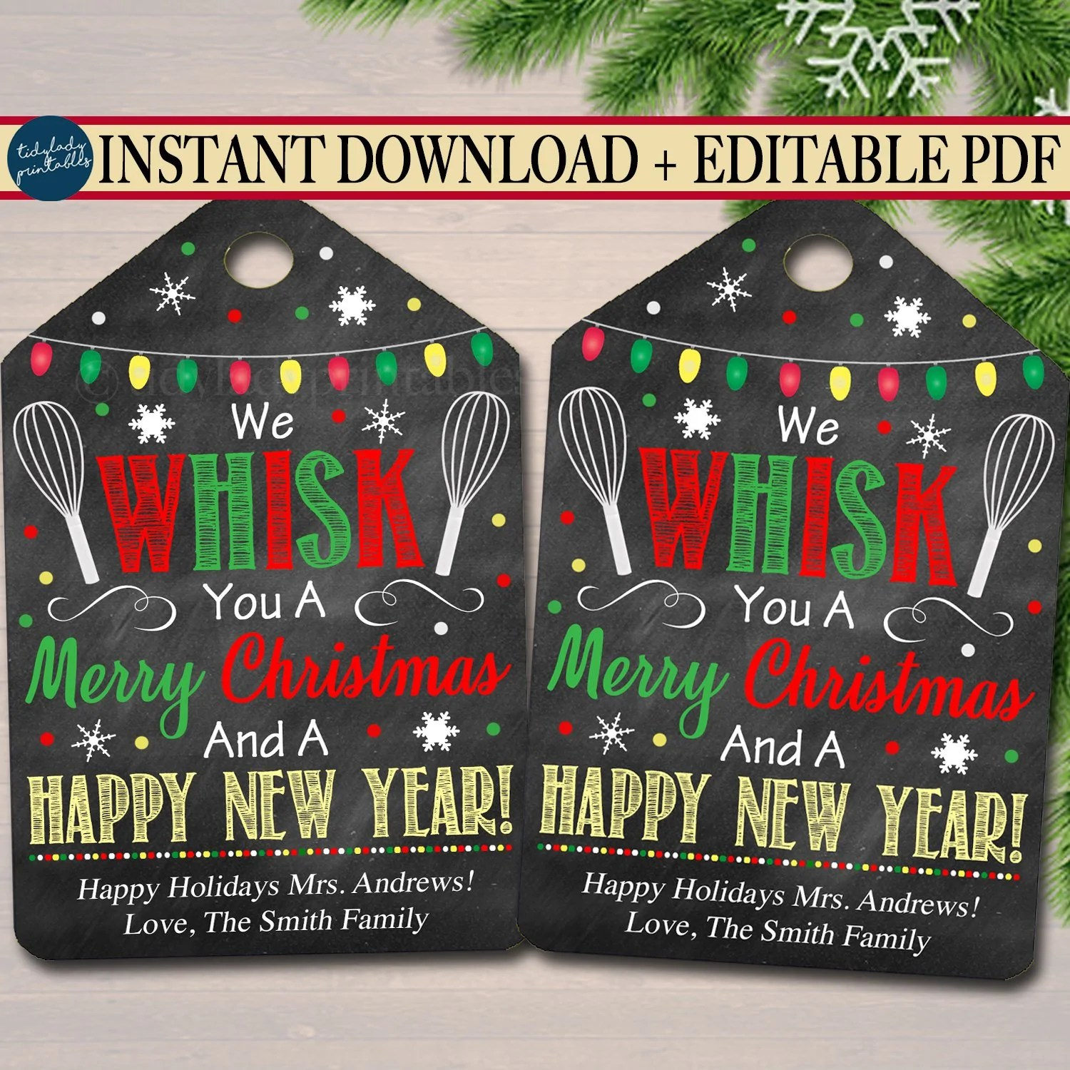 We Whisk You a Merry Christmas Gift Tag   TidyLady Printables [ 1500 x 1500 Pixel ]