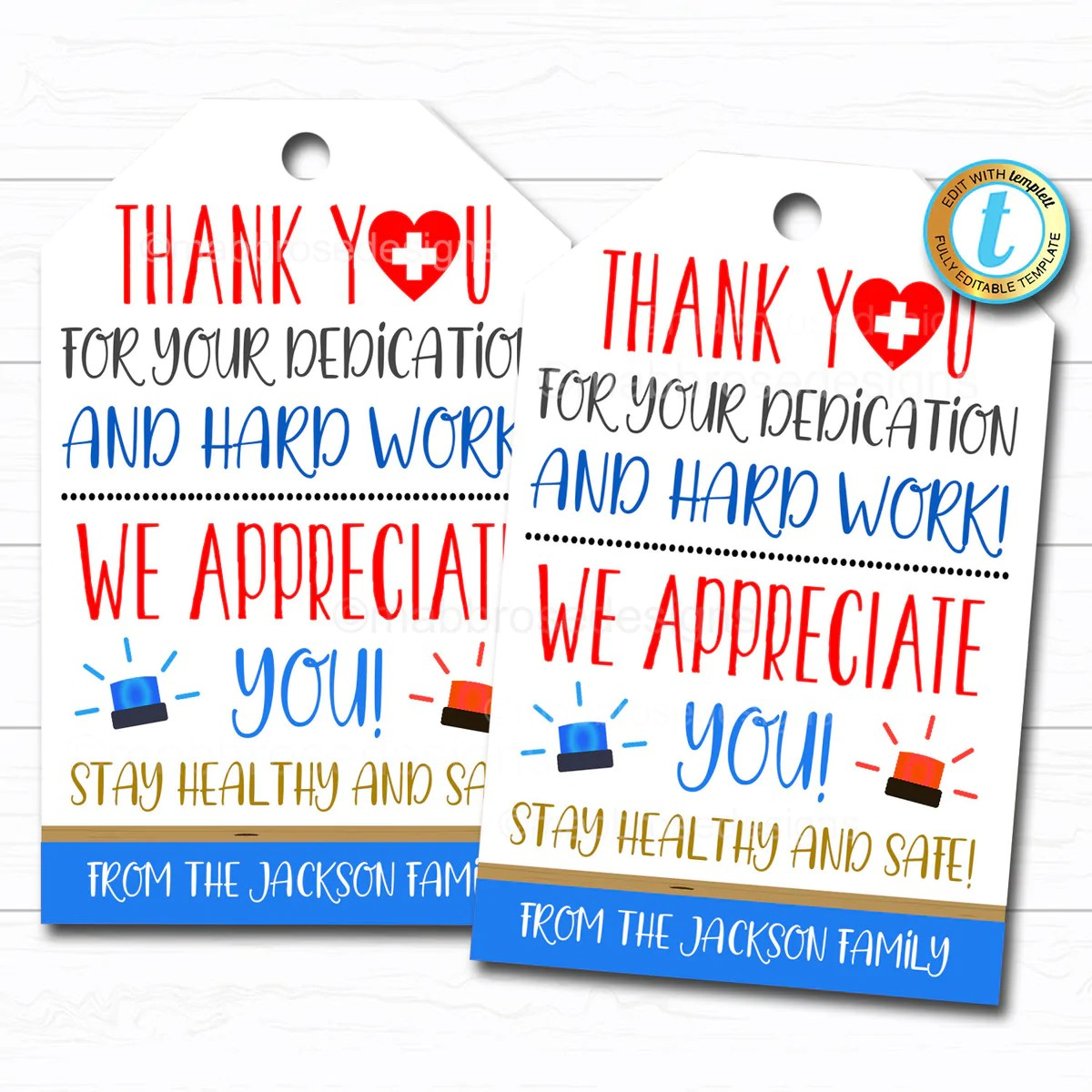 Frontline Worker Appreciation Gift Tag Tidylady Printables