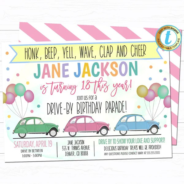 drive by birthday party parade invite