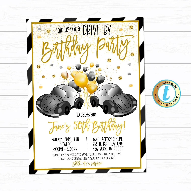 drive by birthday parade invite