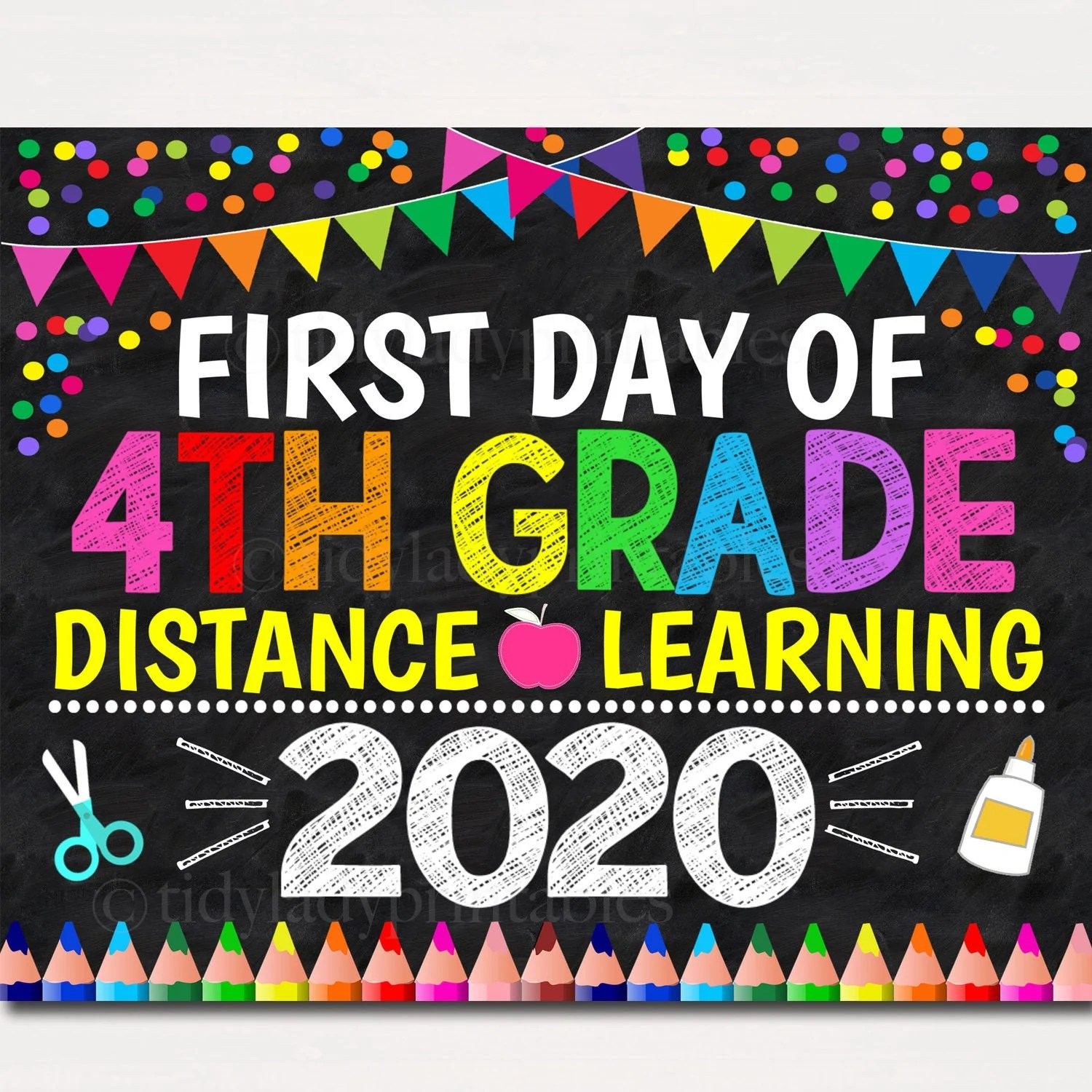 First Day of Virtual 4th Grade Sign   TidyLady Printables [ 1500 x 1500 Pixel ]