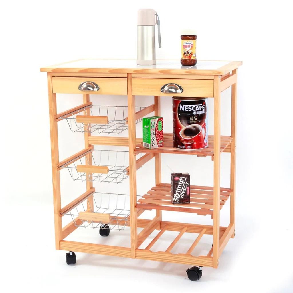 kitchen trolley cart trash bin rolling storage drawer basket wine rack durable wood color
