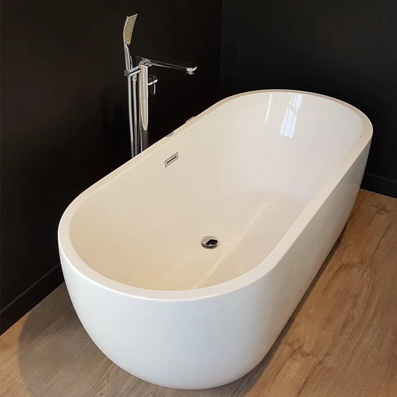 baignoire ilot design ovale boston blanche