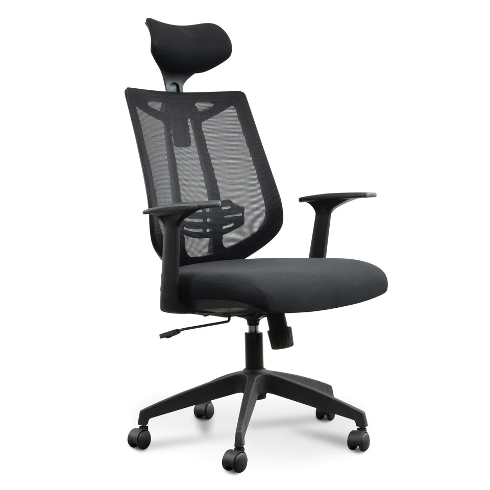 Home Office Desk Chairs Calibre Black Fabric Office Home Office Desk Chair With Mesh Head Rest And High Back Adjustable Free Delivery Aust Wide Oc481