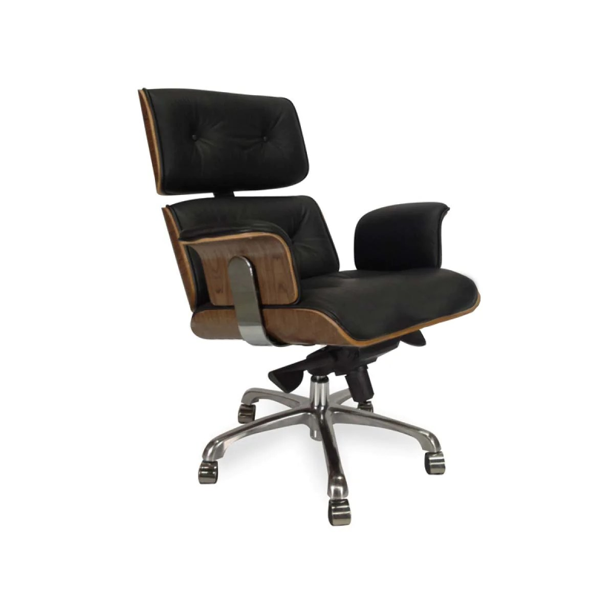 Home Office Desk Chairs Calibre Executive Office Home Office Desk Chair With High Back Armrest In Soft Black Italian Leather With Walnut Veneer Free Delivery Aust Wide