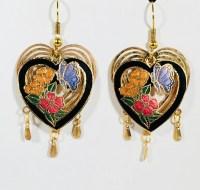 Stefano Vintage Cloisonne dangle double heart butterfly ...