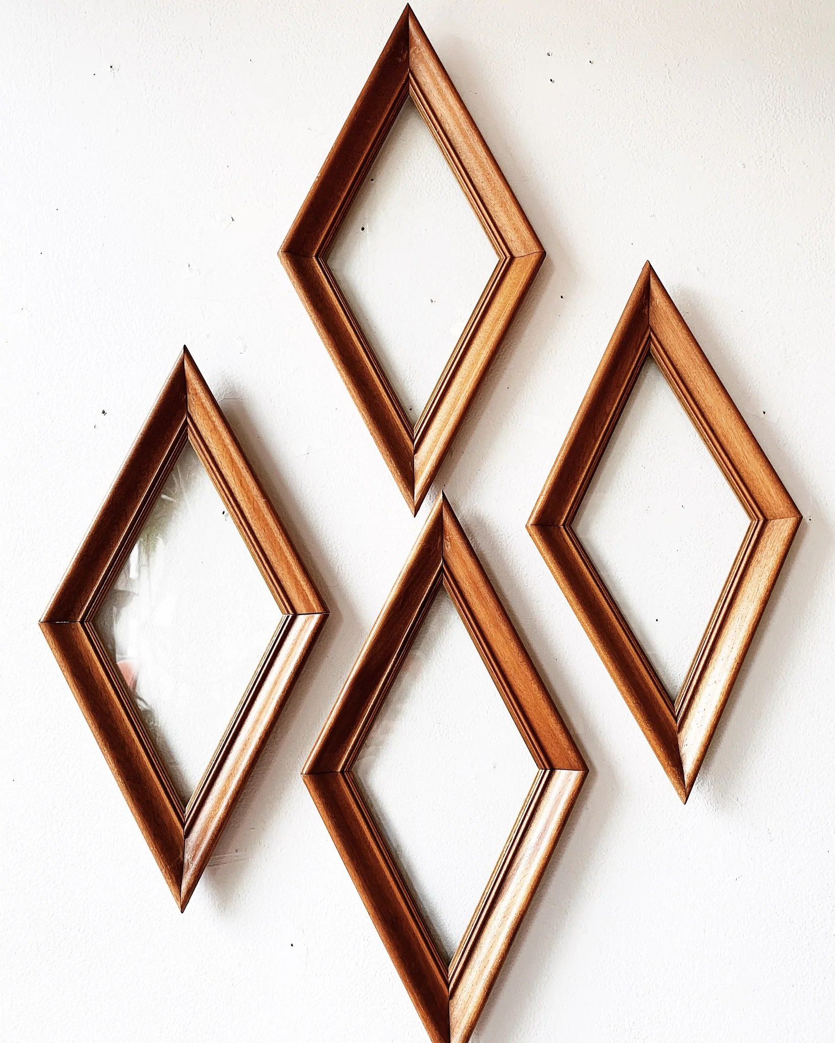 Diamond Shaped Picture Frame : diamond, shaped, picture, frame, Vintage, Diamond, Shaped, Frames, Glass, Maven, Collective