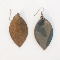 Genuine Leather Leaf Earrings / Green Camo / Boho Style ...