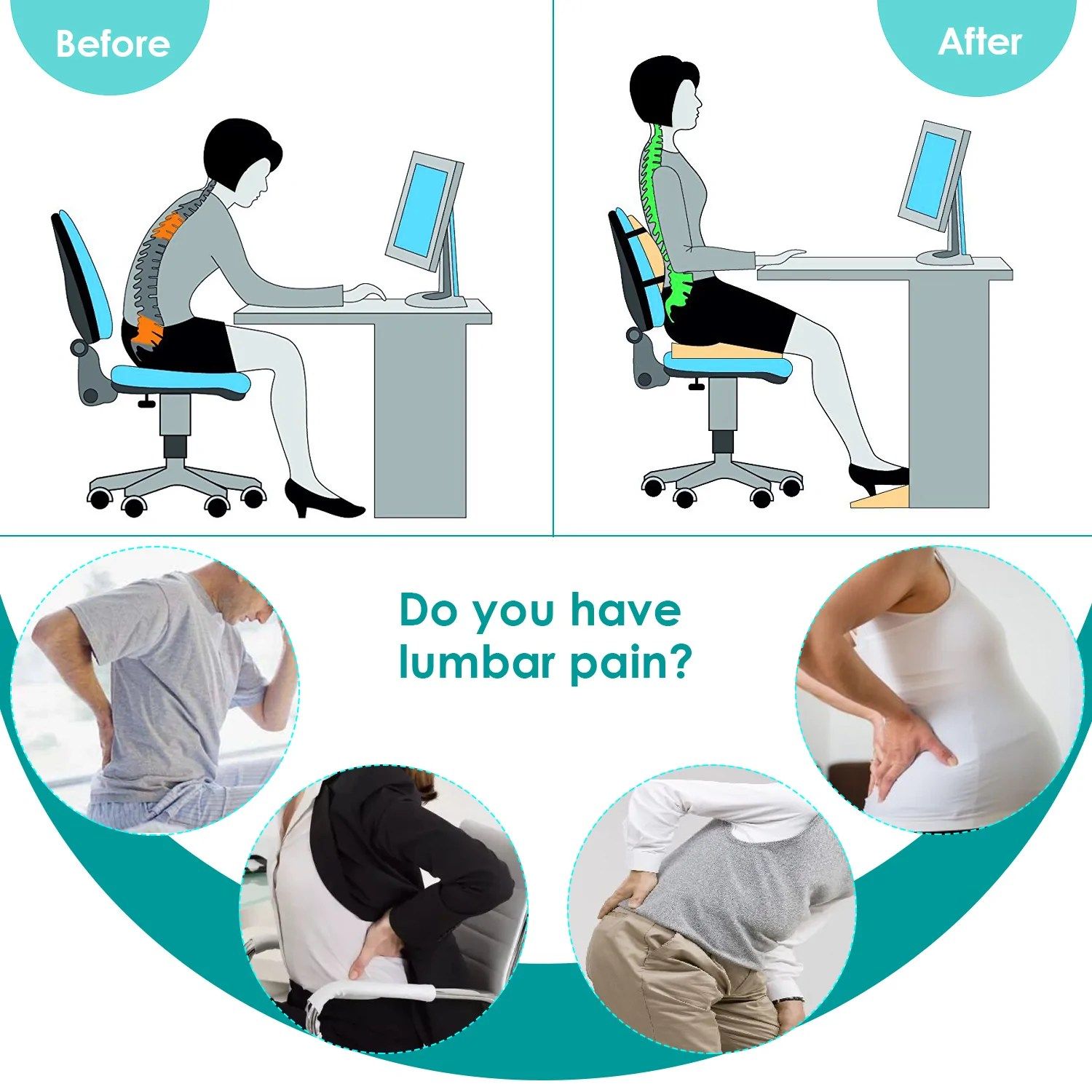 Lumbar Support Pillow For Chair Feagar Lumbar Support Pillow Back Cushion Memory Foam Orthopedic