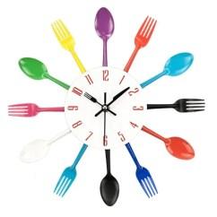 Kitchen Fork Cabinet Refinishing Ct Creative Spoon Decorative Wall Clock Gearrora