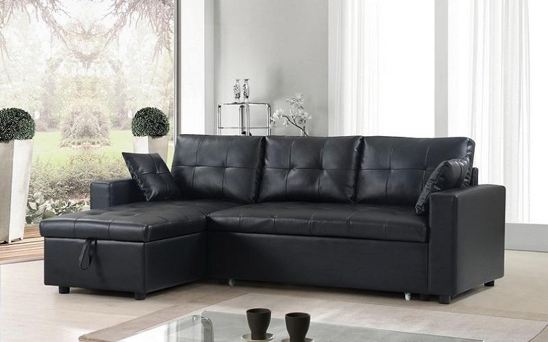 LEATHER SECTIONAL SOFA BED WITH REVERSIBLE CHAISE IN BLACK ...
