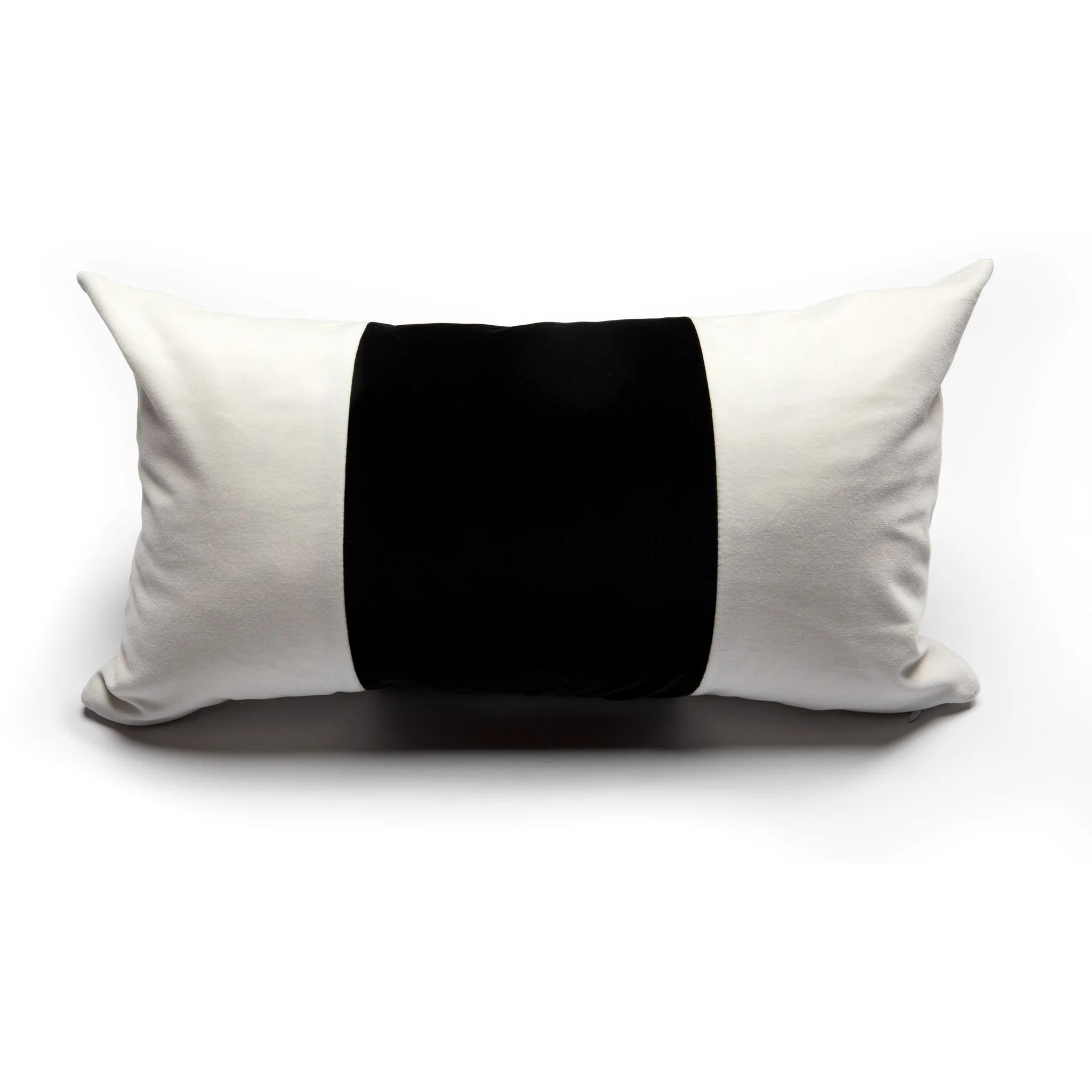 white and black color block velvet pillow cover