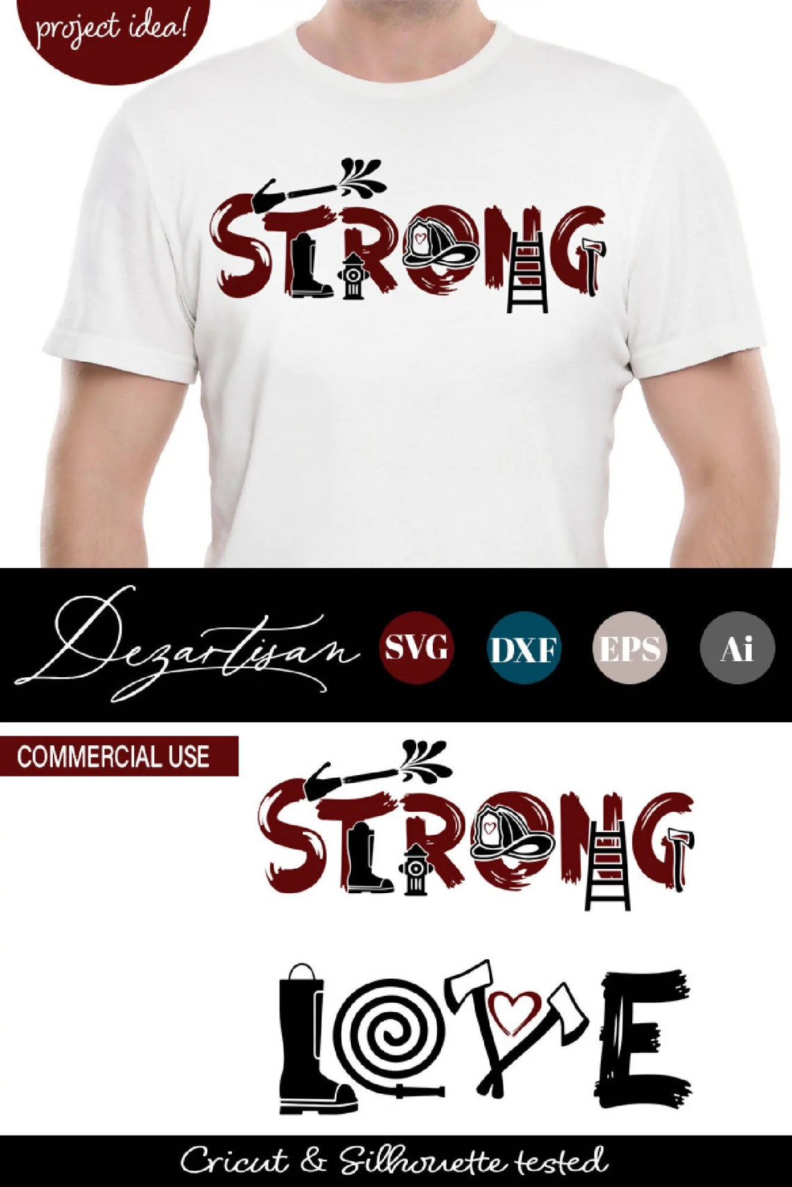 Download Fireman Strong Love SVG   DXF Cut Ready File - SVG & Font ...