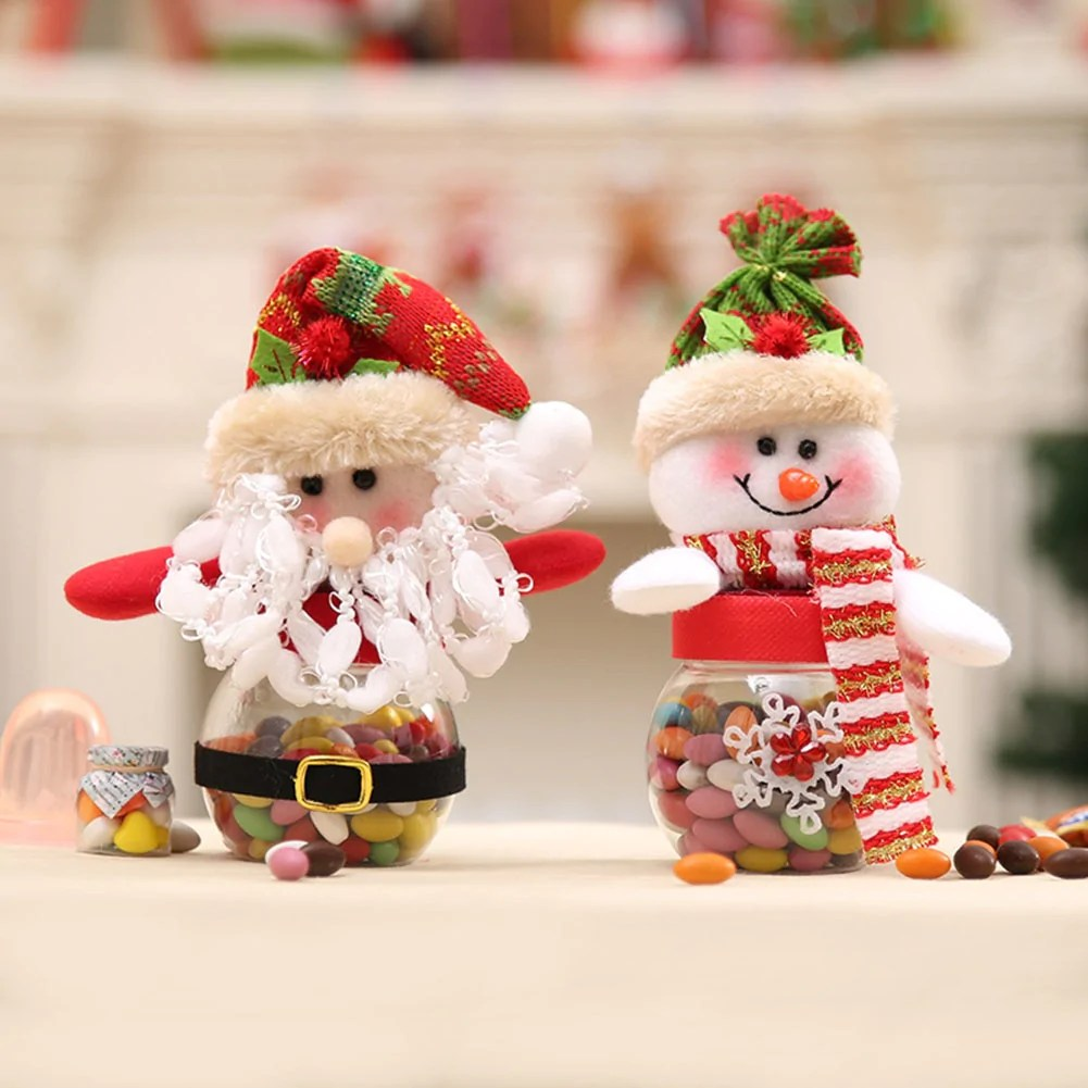 Christmas Decorations Cute Santa Claus Snowman Candy Jars Container Ch Onlineamericanstore
