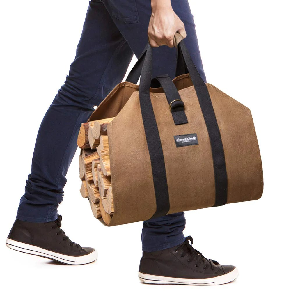 Firewood Log Carrier Waxed Canvas Wood Tote Bag