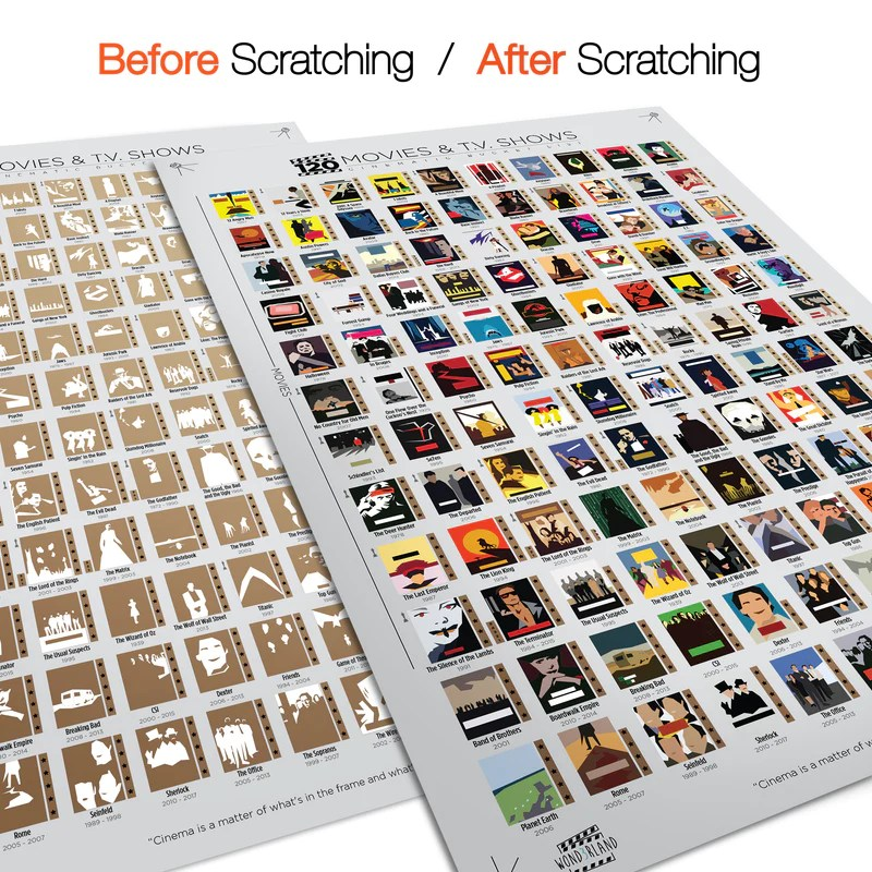 new wond3rland premium scratch off movie poster with 100 films 20 tv shows unique white cinematic bucket list deluxe gift for cinema lovers