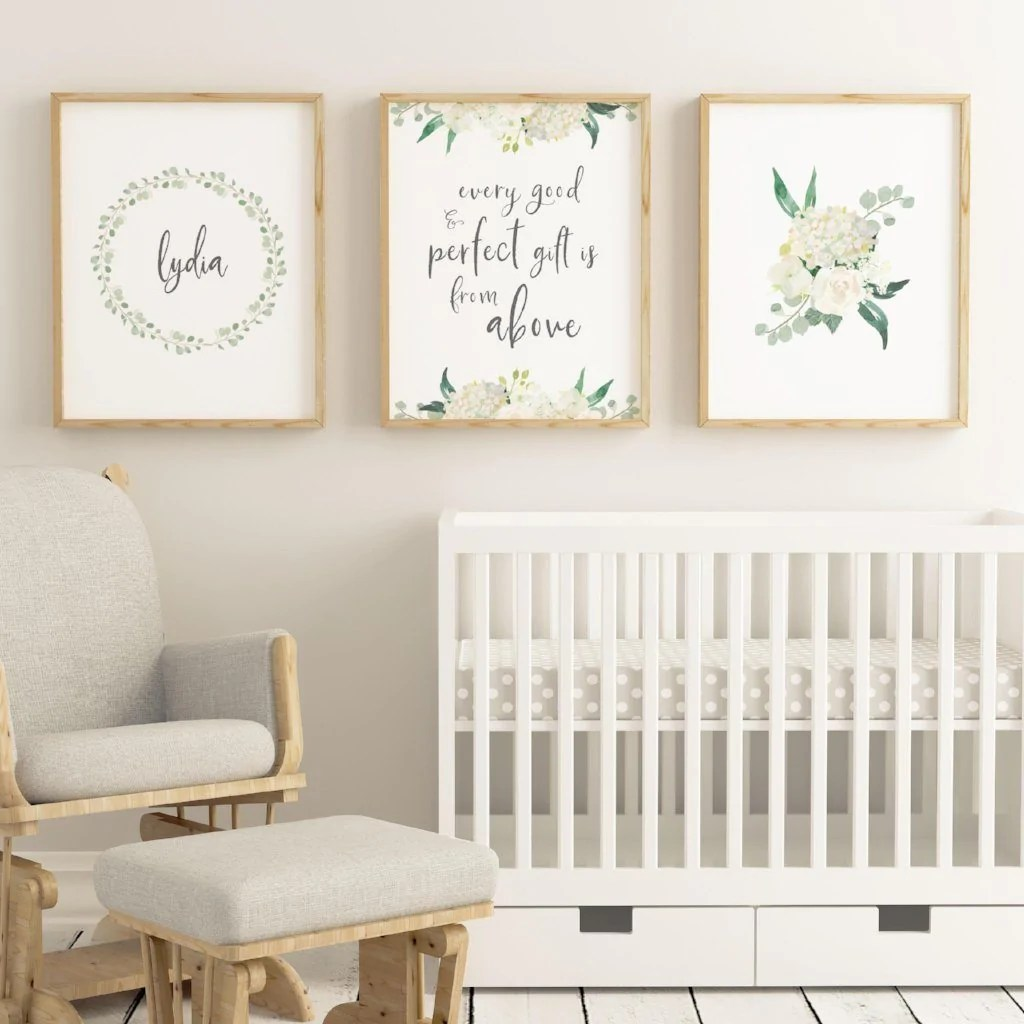 white nursery print set