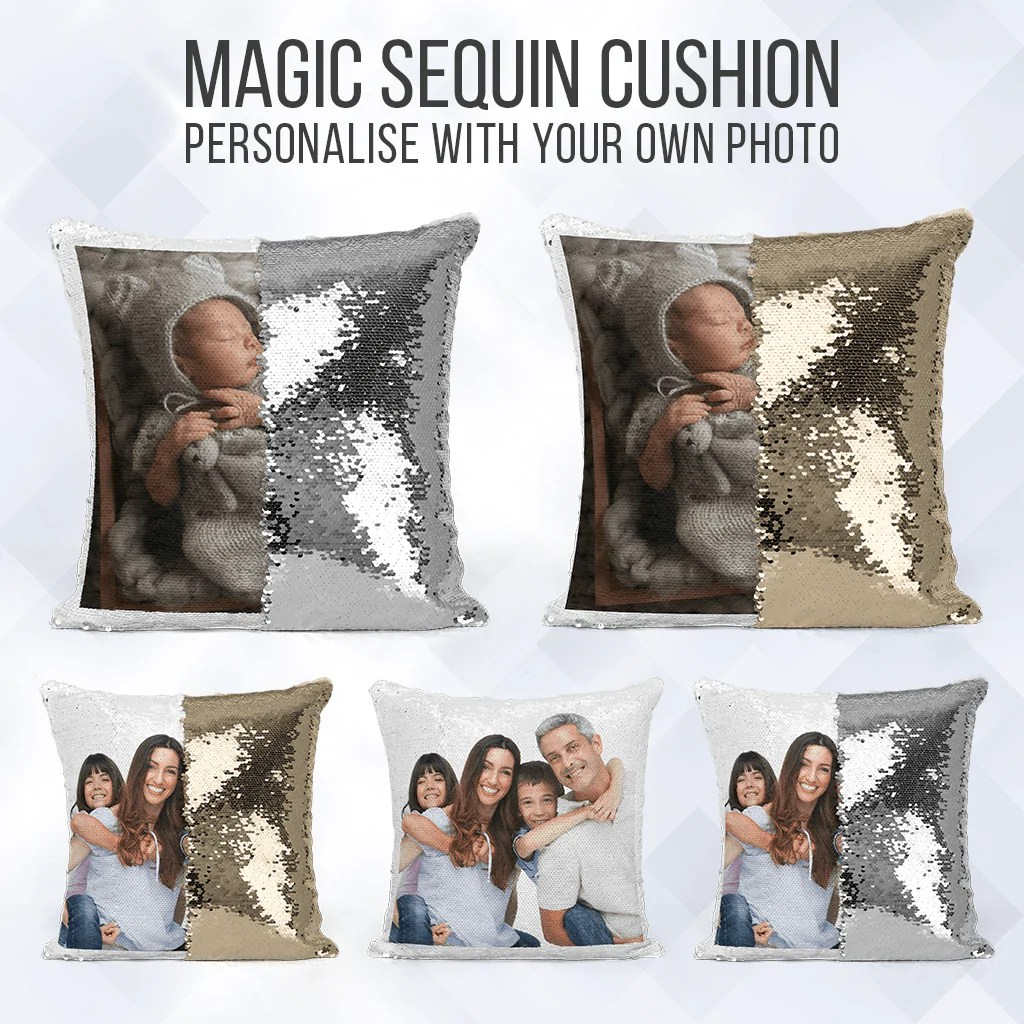 personalised mermaid sequin cushion photo reveal pillow case insert