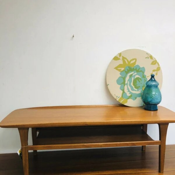 mid century lip edge 2 tier sofa coffee table