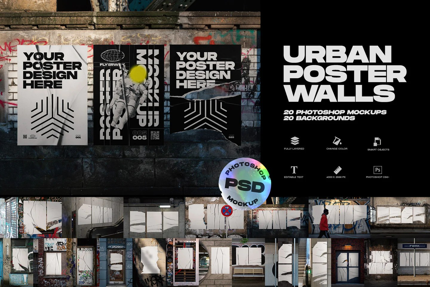 Download posters on wall street mockup for free. Urban Poster Wall Mockups Flyerwrk