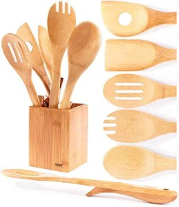 kitchen utensils set countertop material organic bamboo cooking unique elevation feature 6 piece wooden spoons