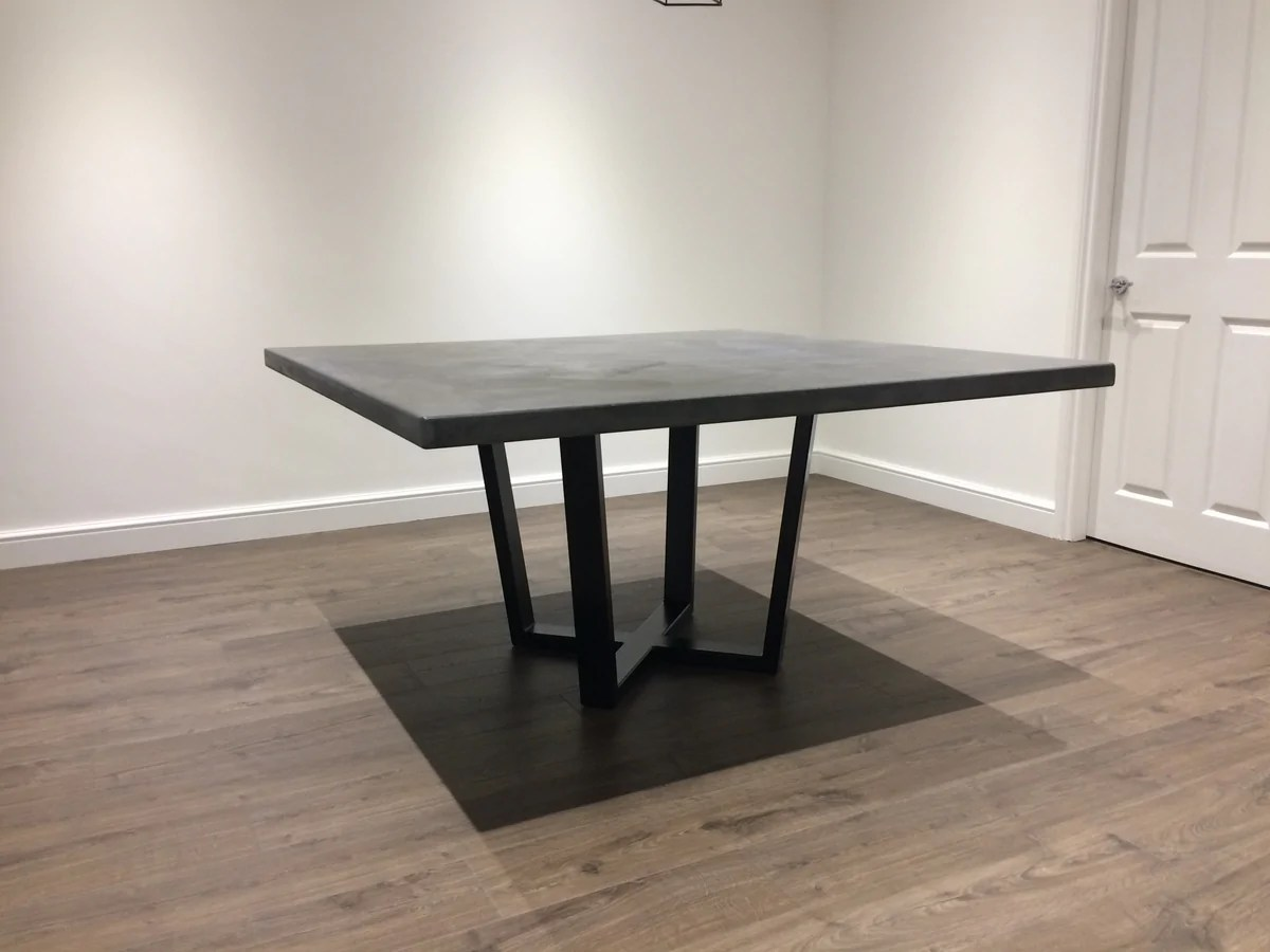 Mid Grey Polished Concrete Square Dining Table With Steel
