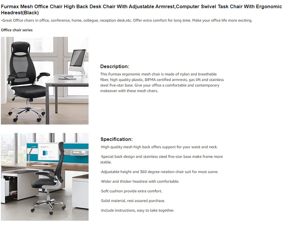 desk chair high office with footrest furmax mesh back adjustable armrest seat 19 7 x21 1 lxw height 4 0 warranty free replacement or money guarantee for any quality problem within 30 days we also provide